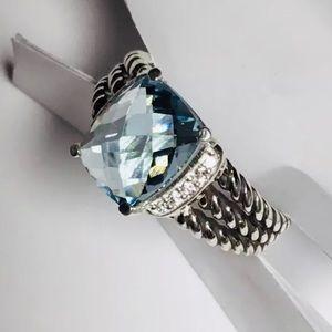 David Yurman Sz 7 Blue Topaz and diamond ring
